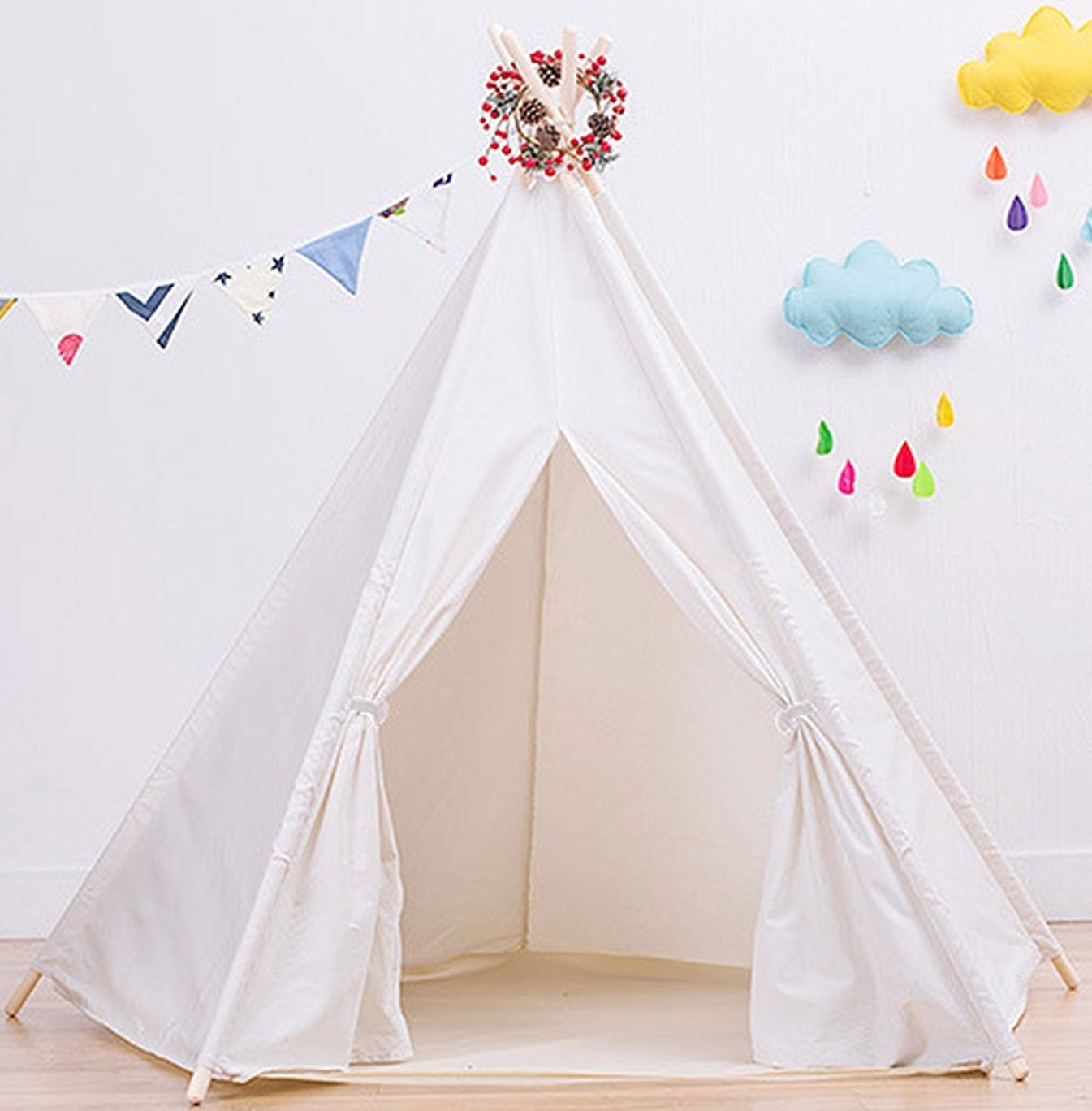 Large Cotton Canvas White Teepee Tent for Kids Tipi Tents Indoor Outdoor | Play Tent Foldable 7 Feet Tall - 5 Poles | Customizable Cotton Tent | Childrens Teepee Tents for Girls and Boys Kids Teepee