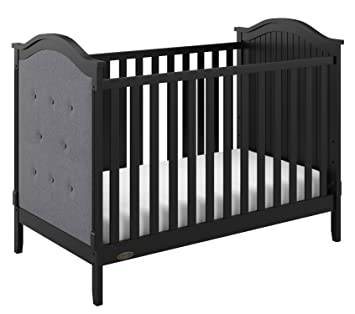 Graco Linden Upholstered 3-in-1 Convertible Crib, Black/Gray Easily Converts to Toddler Bed &...