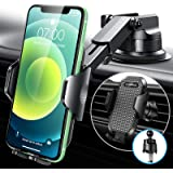VANMASS Universal Car Phone Mount 2021 Upgraded Rock-Solid Rotate-Lock Suction Cup & Hook Air Vent Clip, Cell Phone…