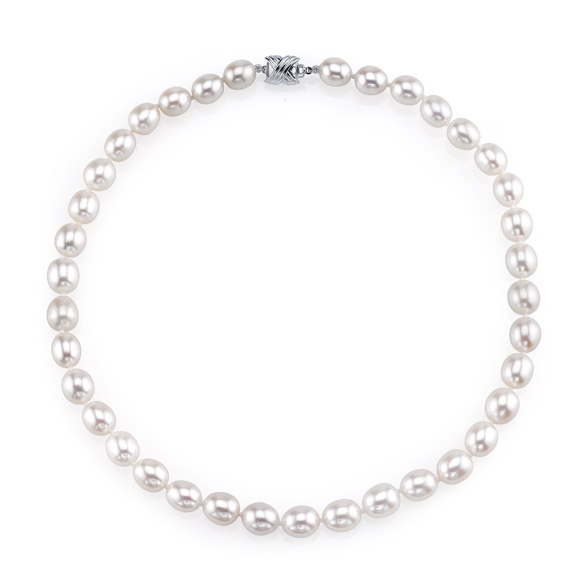 10-11mm Oval White Freshwater Cultured Pearl Necklace - AAA Quality , 18'' Length