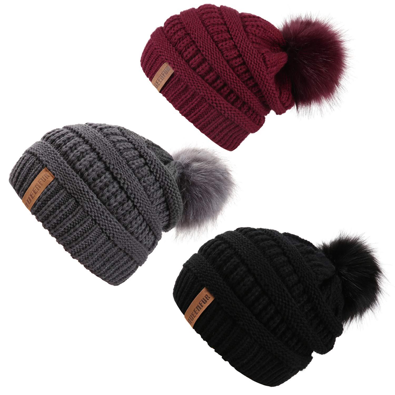 QUEENFUR Women Knit Slouchy Beanie Chunky Baggy Hat with Faux Fur Pompom Winter Soft Warm Ski Cap (Black/Dark Grey/Burgundy 3Pcs) by QUEENFUR