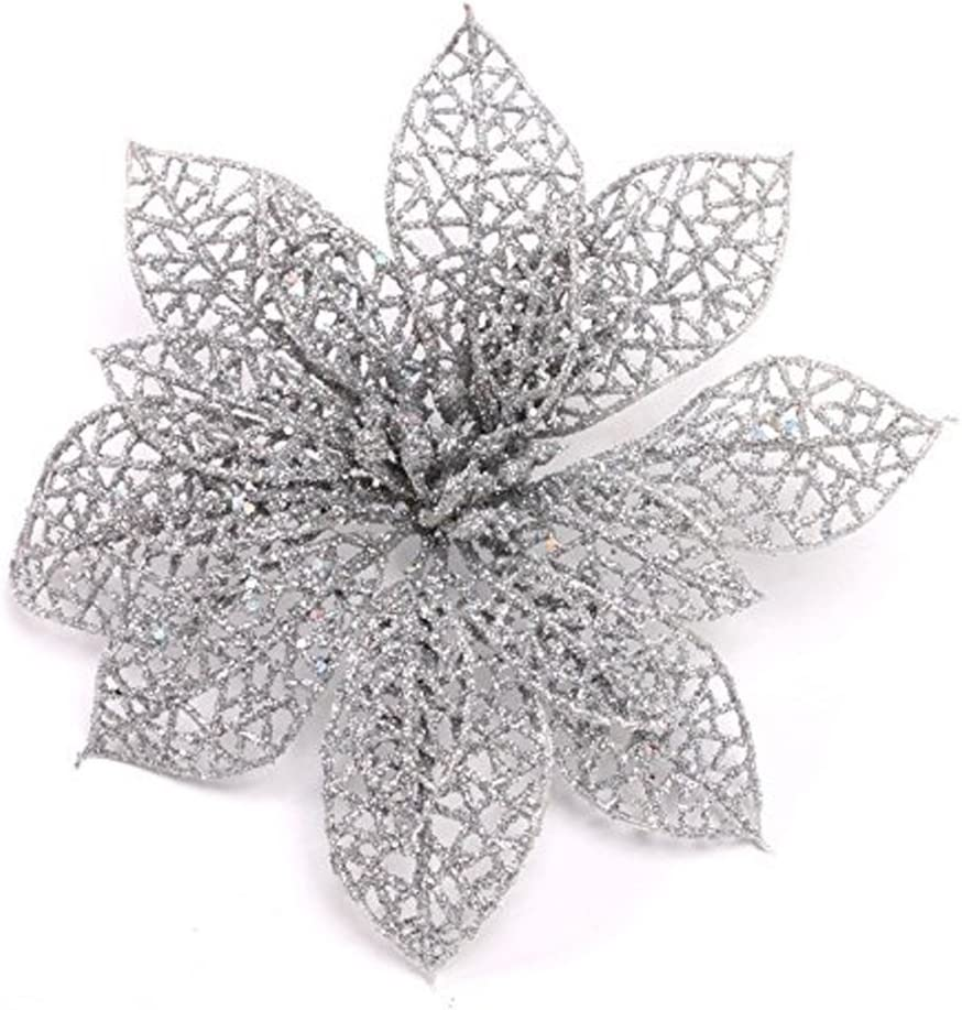 Crazy Night (Pack of 10 Glitter Silver Poinsettia Christmas Tree Ornaments (Silver)