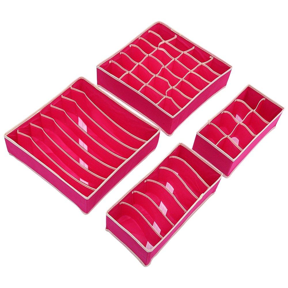 Plegable cajón organizadores plegable ropa almacenamiento cajas sujetador organizador de ropa interior Closet cajón Divisor calcetines cuello corbatas bufandas pañuelos (Set de 4) XIAOWANG