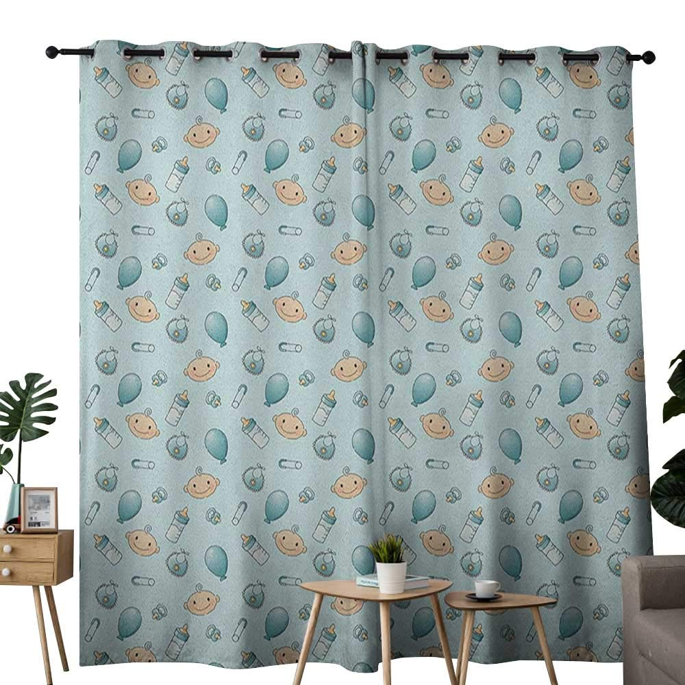 NUOMANAN Customized Curtains Baby,Infant Head with Balloons Pacifiers and Milk Bottles Newborn Inspired, Baby Blue Turquoise Tan,Blackout Draperies for Bedroom Living Room 120''x96''