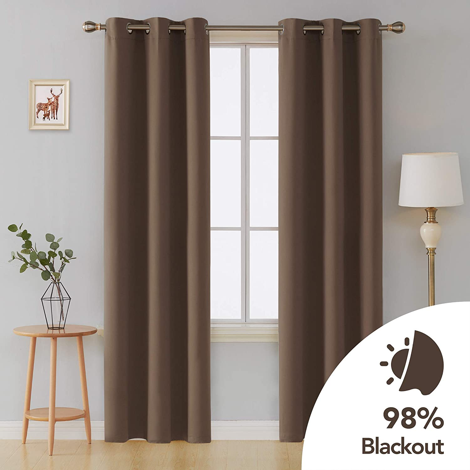 Deconovo Thermal Insulated Curtains Room Darkening Grommet Curtain Panel Blackout Drapes 42 Inch by 95 Inch Beige Set of 4