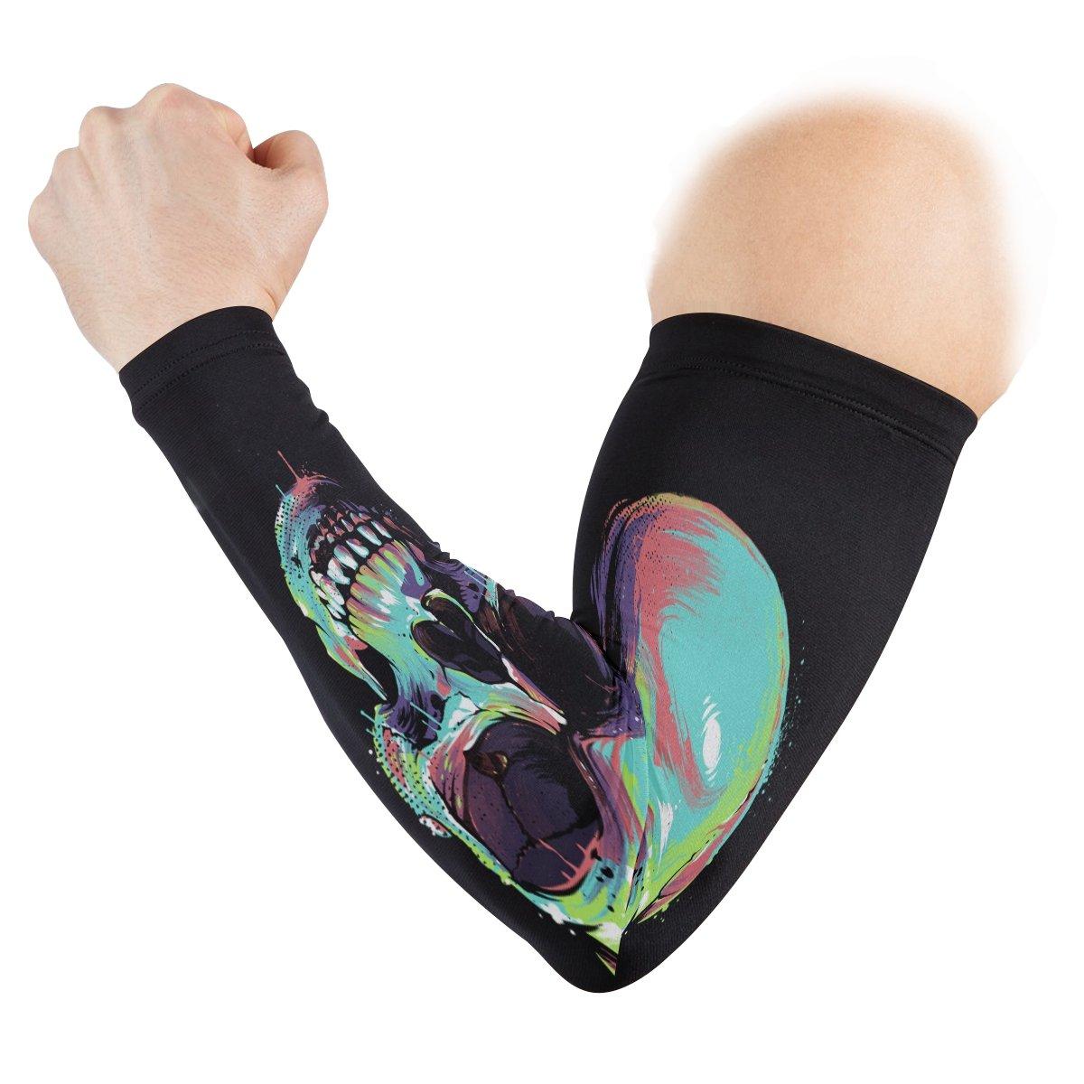 ZZKKO Skull - Mangas de refrigeración para brazo de hombre, protección solar para hombres, mujeres, running, golf, ciclismo, brazo calentador, ...
