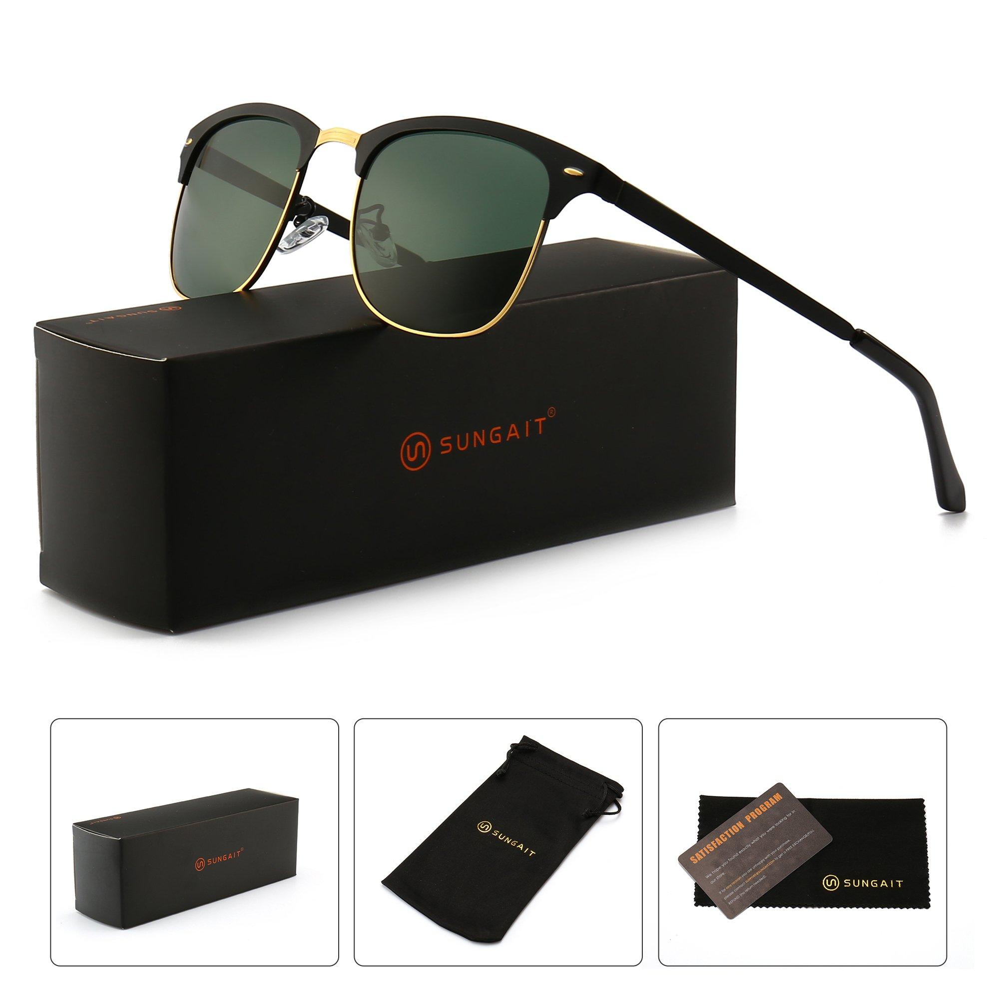 SUNGAIT New Clubmaster Sunglasses for Men Women (Black Frame/Green Lens) Metal Frame New-A502 HEKLV