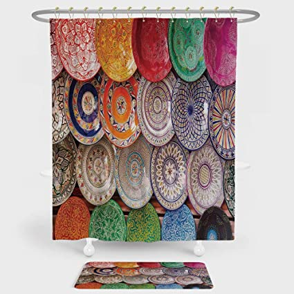 IPrint Moroccan Decor Shower Curtain And Floor Mat Combination Set Traditional Arabic Handcrafted Colorful Plates Shot