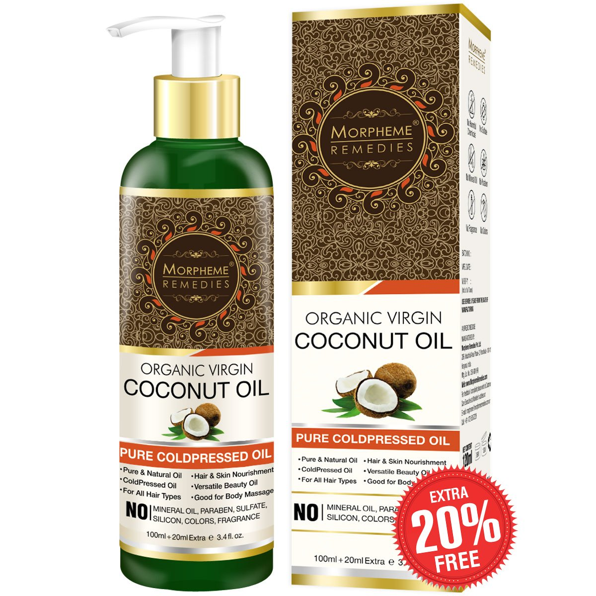 Morpheme Remedies Pure Cold Pressed Organic Virgin Coconut Oil for Hair and Skin, 120ml product image