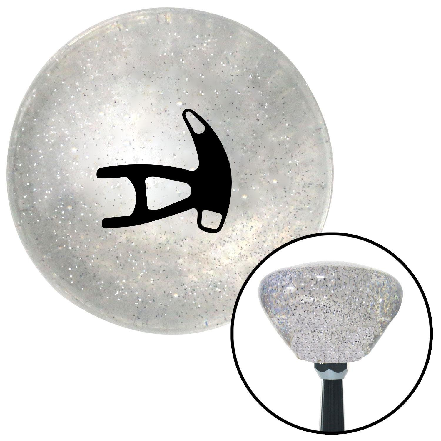 American Shifter 159600 Clear Retro Metal Flake Shift Knob with M16 x 1.5 Insert Black Paddle Shift