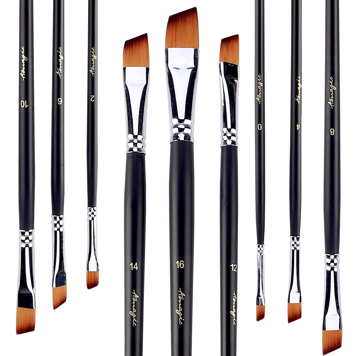 Angled Flat Tipped Brushes by Amagic Art Angular Paintbrush Set for Acrylic Oil Watercolor, 9 Pieces Face and Body Professional Painting Kits with Synthetic Nylon Tips