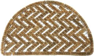 """Rubber-Cal 10-100-510 Caspian Sea Outdoor Half Round Scraper Doormat, 18"""" x 30"""", Tan"""