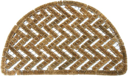 Rubber-Cal 10-100-510 Caspian Sea Outdoor Half Round Scraper Doormat, 18 x 30 , Tan