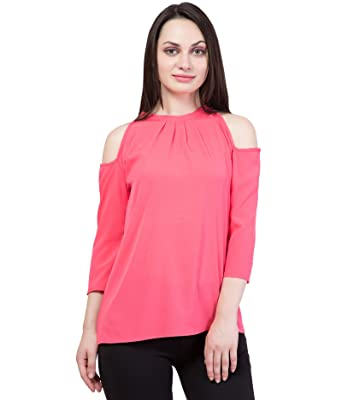 7d4ca6d0bfe08 Cliths Pink Cold Shoulder Top for Women