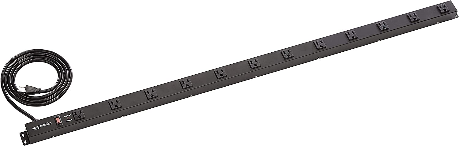 AmazonBasics Heavy Duty Metal Surge Protector Power Strip with Mounting Brackets - 12-Outlet, 600-Joule (15A On/Off Circuit Breaker) (Renewed)