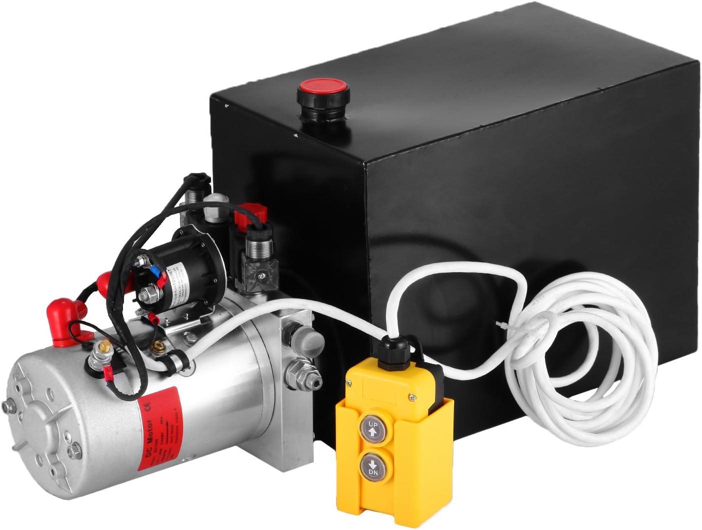 Moracle Bomba Hidráulica de Acción 12 V DC con Tanque Grande en Doble Efecto Efecto simple para Remolque de Descarga Automática