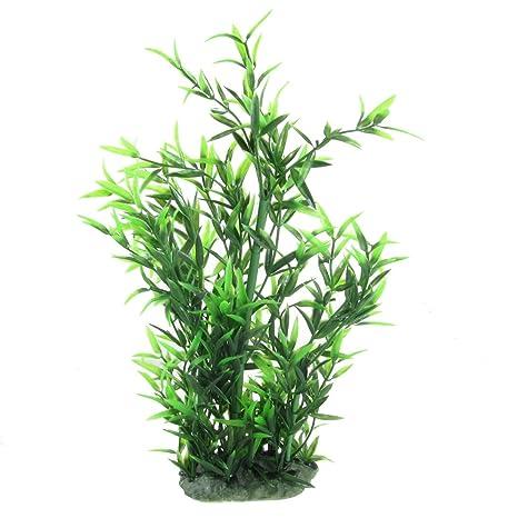 Jardin plástico Planta Aquascaping para Acuario, 13.4-Inch Altura de bambú, Color Verde
