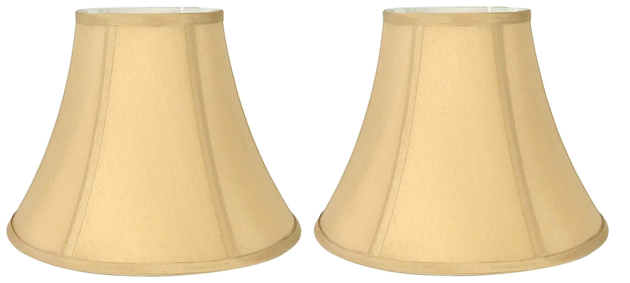 Light Gold Bell Hand Made Fabric Lampshade, 7x14x11''H, (Spider) (Light Gold Pack of 2)