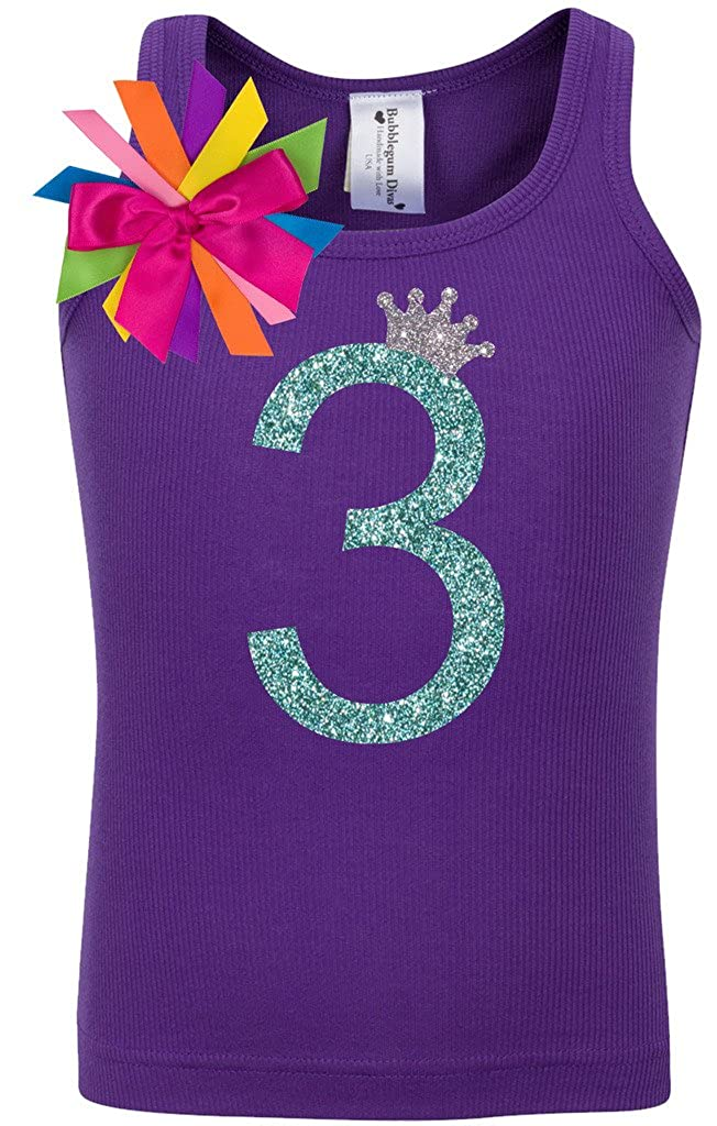 Bubblegum Divas Little Girls 3rd Birthday Purple Rainbow Princess Shirt