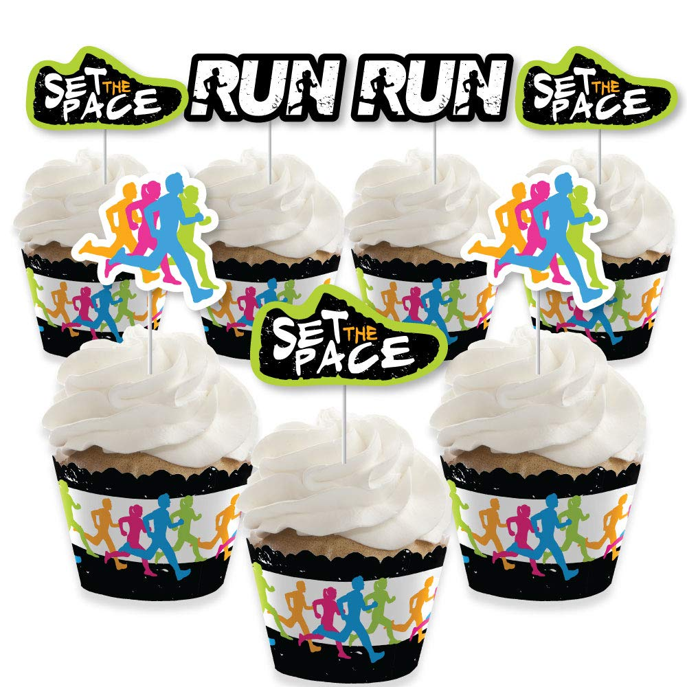 Big Dot of Happiness Set the Pace - Running - Cupcake Decoration - Track, Cross Country or Marathon Party Cupcake Wrappers and Treat Picks Kit - Set of 24 by Big Dot of Happiness