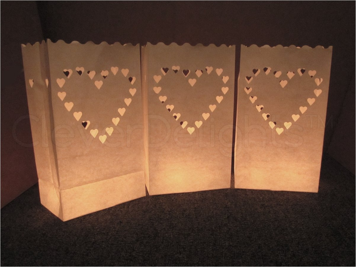 CleverDelights White Luminary Bags - 100 Count - Big Heart Design - Flame Resistant Paper - Wedding, Reception, Party and Event Decor - Luminaria Candle Bag