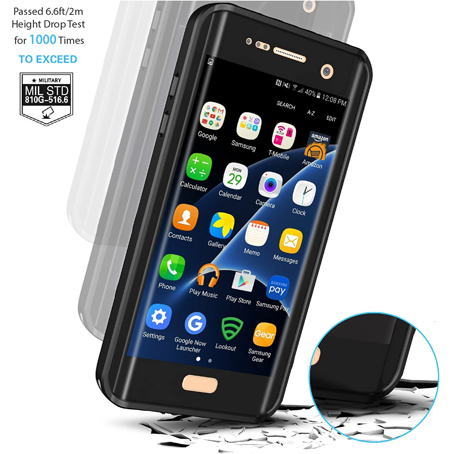 official photos 80a70 b9adc Samsung Galaxy S7 Edge Waterproof Case, Temdan 2018 Support Wireless  Charging Case with Floating Strap Built in Screen Protector IP68 Waterproof  ...