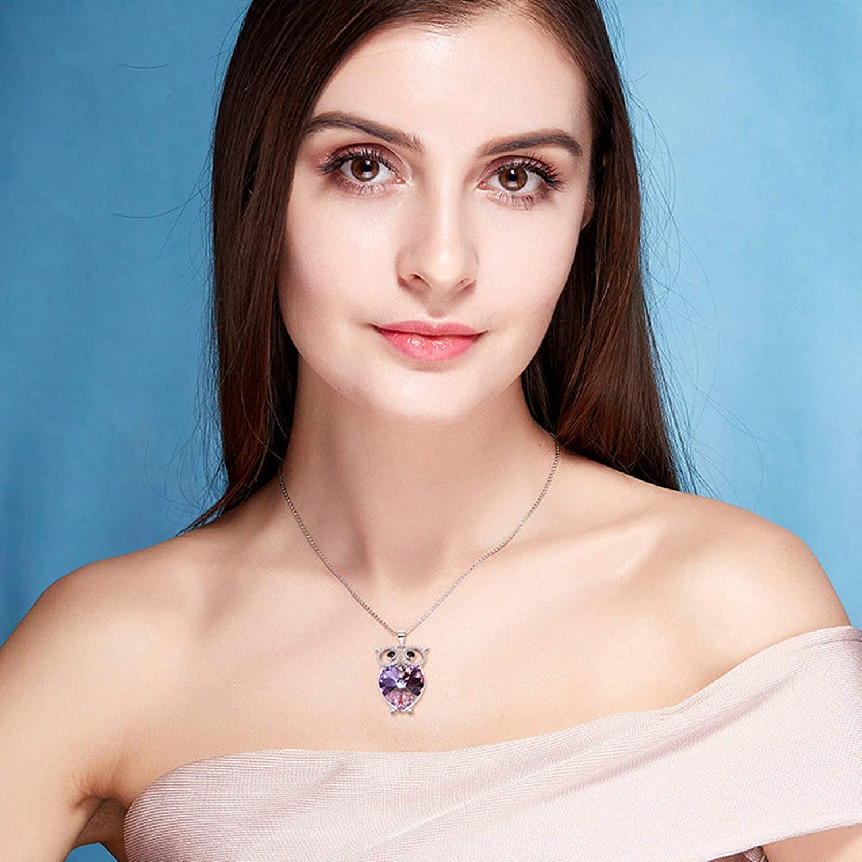 EoCot Owl Necklace for Women Australian Crystal Pendant Necklaces