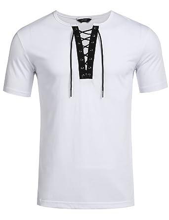 6d267df15bc7 COOFANDY Men s Casual Short Sleeve T-Shirt Hippie Hip hop V-Neck ...