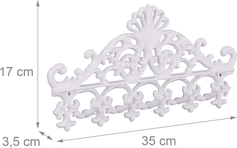 5 Haken Relaxdays Garderobenleiste aus Gusseisen HBT: ca Antiker Landhausstil schwarz Hakenleiste 17 x 35 x 3,5 cm