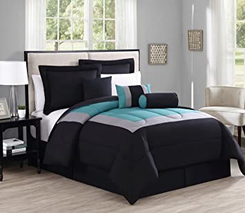 Attractive 7 Piece Queen Rosslyn Black/Teal Comforter Set