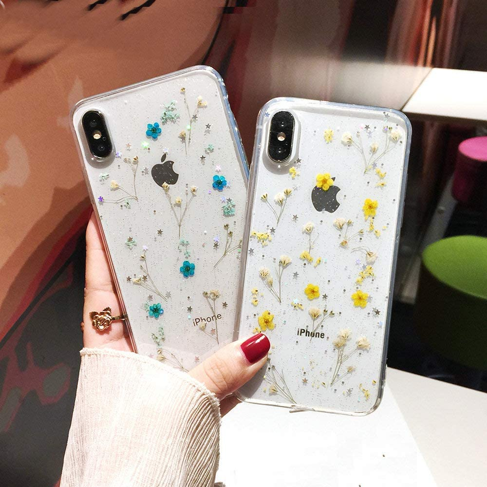 Shinymore iPhone 11 Pro Flower Case Soft Clear Flexible Rubber Pressed Dry Real Flowers Case Girls Glitter Floral Cover for iPhone 11 Pro Blue