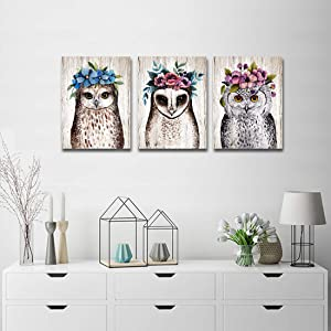 Purple Verbena Art Flower Owl Painting Canvas Wall Art for Living Room 3 Pieces Wall Decor Cartoon Animal Living Room Bedroom Walls Decoration,Unframed Picture 12x16 Inches