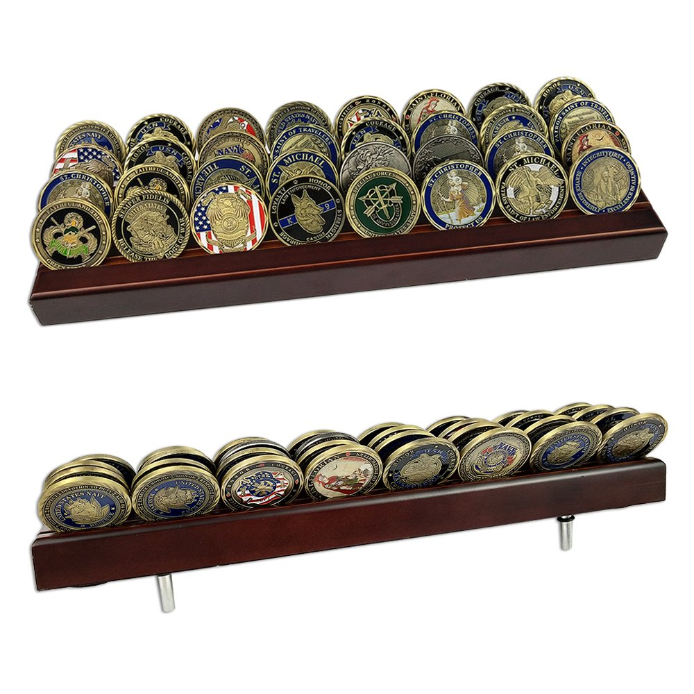 atsknsk Military Challenge Coin Display Rack Holder Stand Wooden(4 Rows)