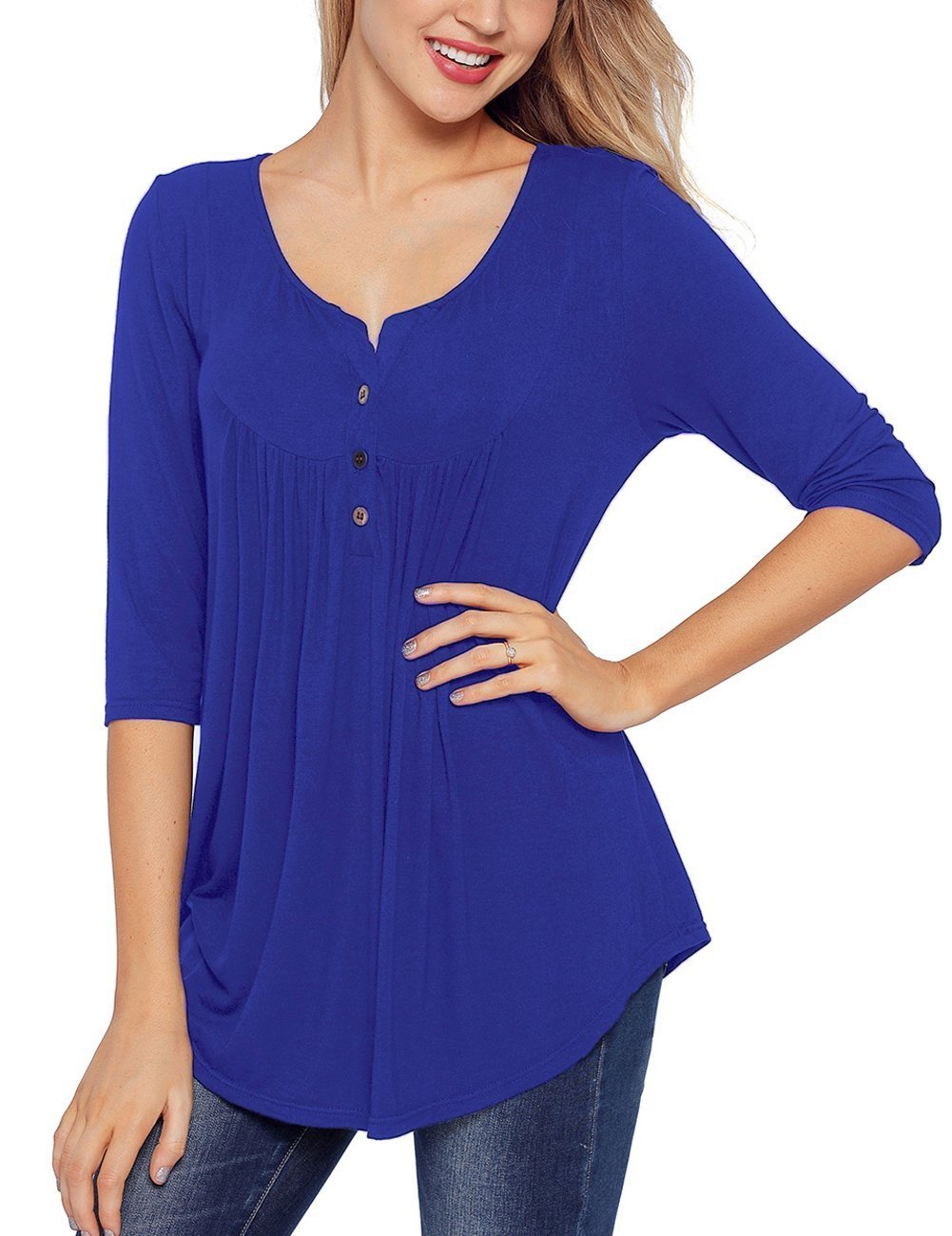 Blingfit Long Sleeve Loose Fit Casual Solid Color Front Pleated Shirts Tunic Blouse Henley Tops for Women Ladies Girls