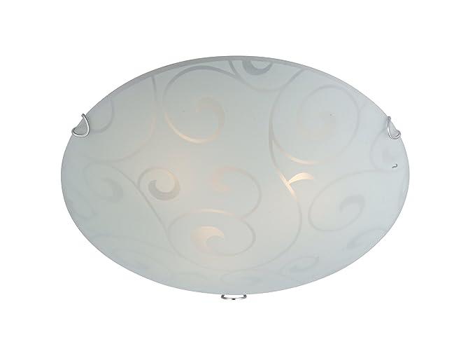 Globo - Lámpara de techo de cristal claro satinado, 1 x 60 W ...