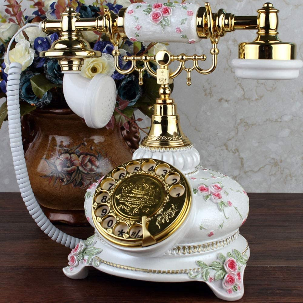Amazon.com: MQQ Antique Telephone Retro Vintage Classic Rotary Phone  Landline Phone Old Fashioned Corded Phone for Office Home Decor Wonderful  Gift Crafts (Color : White): Home & Kitchen