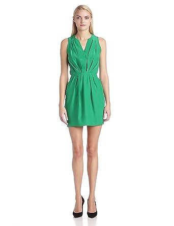 Amanda Uprichard Women's Lotus Sleeveless Cross Front Silk Dress, Green, X-Small