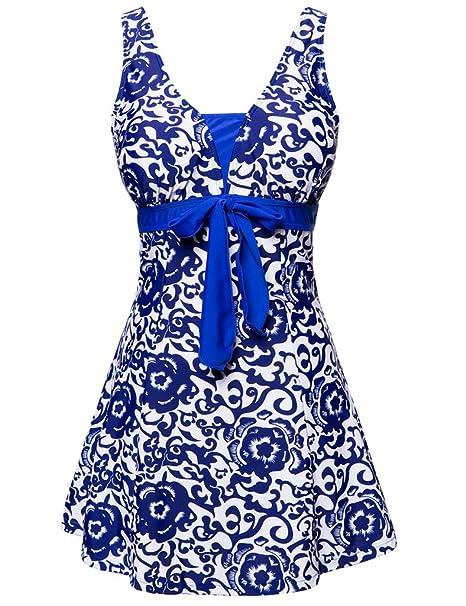 Wantdo Traje de Baño 1 Pieza para Mujer Monokini Estampado Floral con Falda 38 Brillante Azul