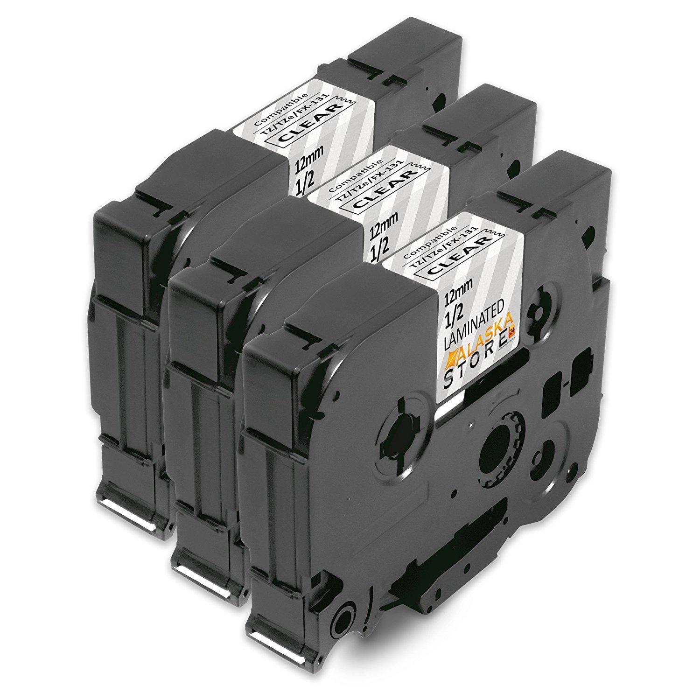 3x Compatible Label Tape Cassette Brother TZe-131 TZ131 Black on Clear 12mm x 8m for Brother P-Touch PT-1000 PT-1080 GL-100 p-touch h101c h101tb PT-1000BM PT-1010 PT-1010B P-Touch 1000W H100LB/R E100/VP D200/BW/VP D210/VP Label Printer Alaskprint No Brothe