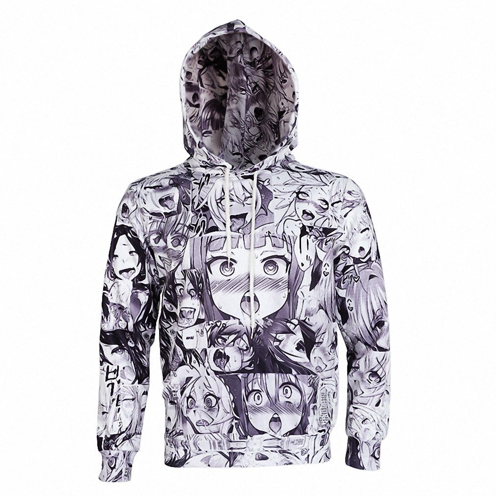 Ahegao Hoodies Sweatshirt Winter Mens Long Sleeve Pullovers Funny 3D Print Tracksuit Plus Size Dropship