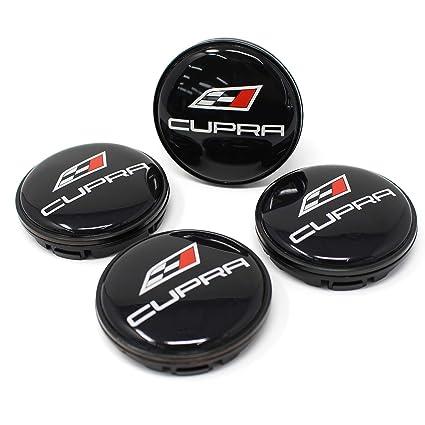 Finest Folia 4 x Buje Tapa Cupra 55 mm ABS plástico OEM Calidad Gel Emblema Aluminum Tapa