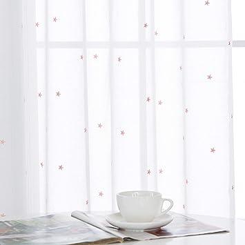 Deconovo Rideau Voilage Fenetre Transparent à Oeillets Broderie
