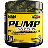MAN Sports Pump Powder Stimulant-Free Pre-Workout Nitric Oxide Supplement, Sour Batch, 30 Servings, 225 Grams