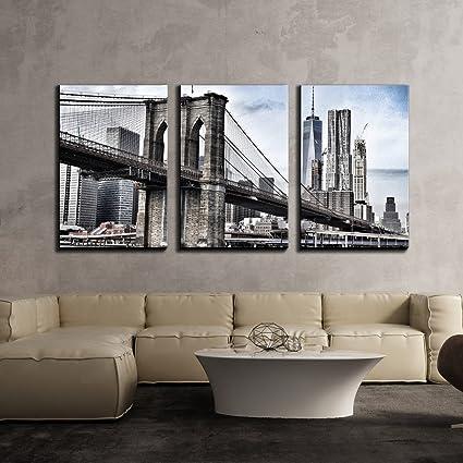 Amazon.com: wall26 - 3 Piece Canvas Wall Art - Brooklyn Bridge in ...