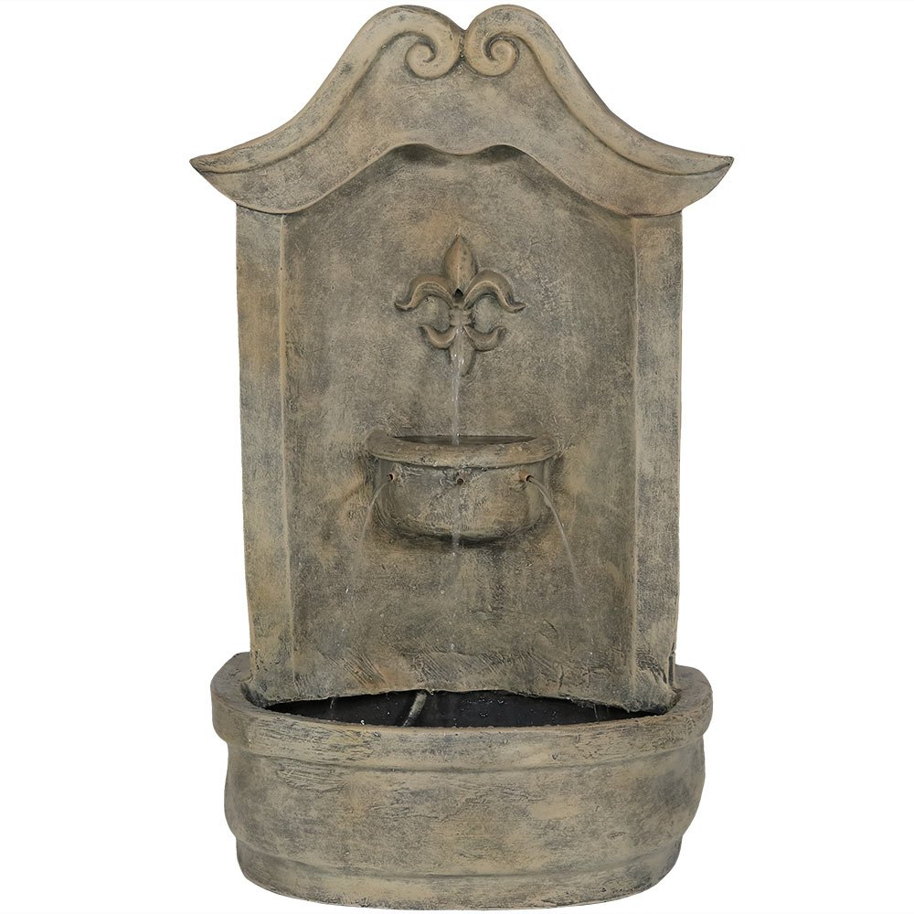 Sunnydaze Flower of France Outdoor Wall Water Fountain, with Electric Submersible Pump, 29 Inch, French Limestone by Sunnydaze Decor