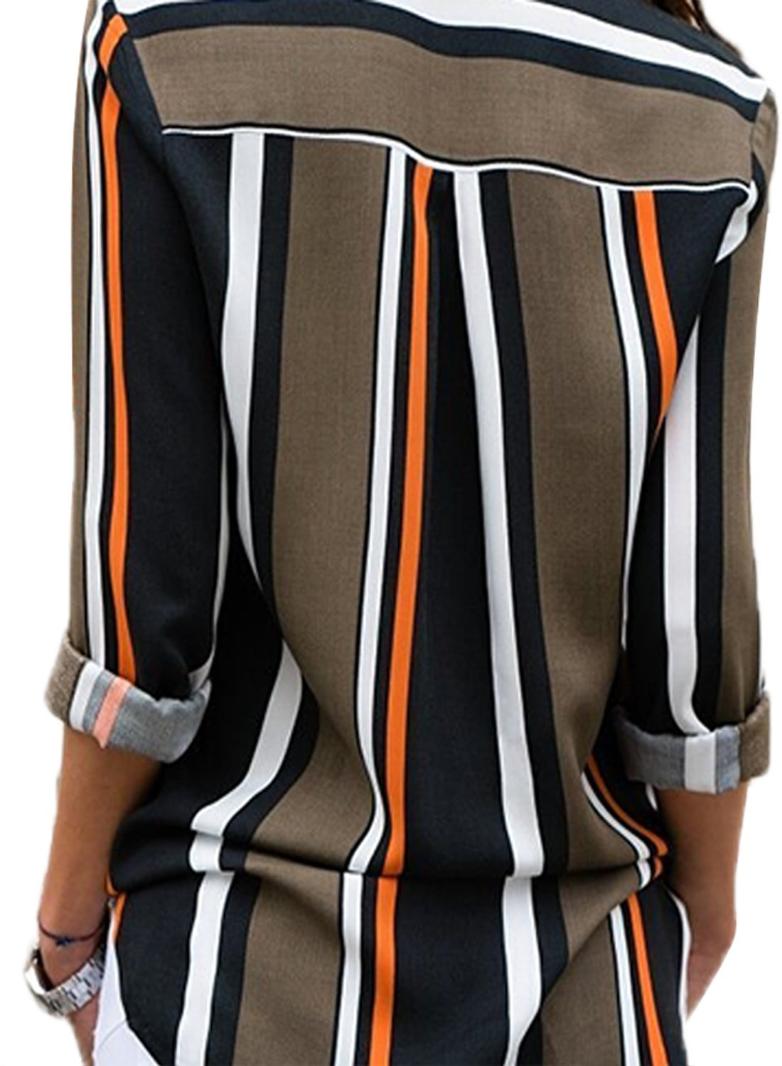 Womens Long Sleeve Summer Spring V Neck Button up Color Block Stripes Blouse Casual Tops and T Shirts for Jeans Under 20 XX-Large 18 20 Black by Astylish (Image #2)