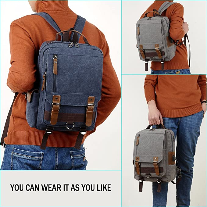 8cc5c410ea64 VICUNA POLO Men Sling Bag Canvas Backpack USB Charge Dual-use Chest Bag  with Lock  Amazon.ca  Luggage   Bags