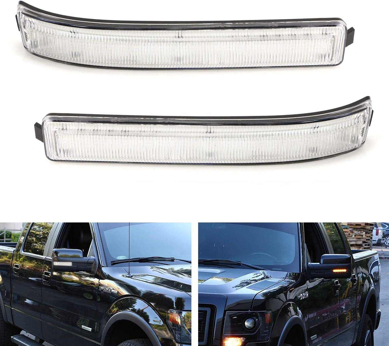Powered by 24 Pieces of SMD LED Chips 2 Smoked Lens Amber LED Side Mirror Turn Signal Lamps Compatible with Ford F150 Expedition, Lincoln Mark LT iJDMTOY