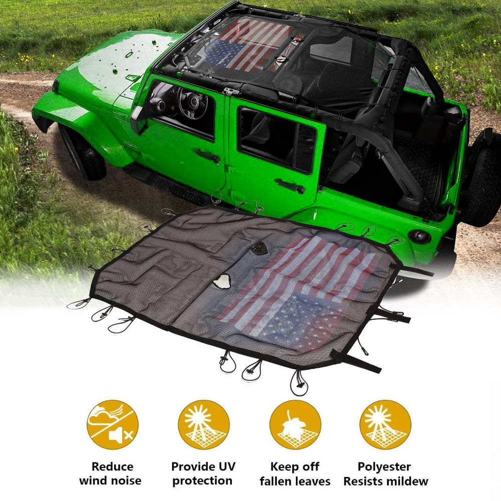 TIMPROVE US Flag Durable Polyester Mesh Sun Shade Soft Top Cover Provides UV Sun Protection with Storage Pockets for 2007-2018 Jeep Wrangler JK or JKU 4 Door