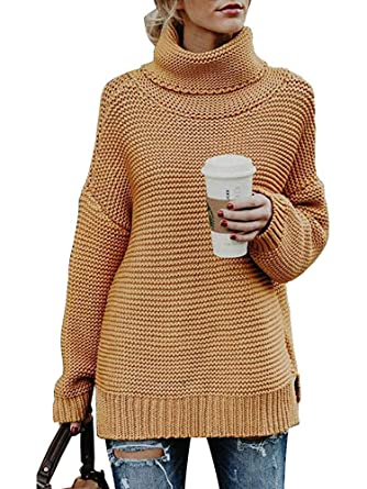 a01d788b7e8 ORMAY Women s Long Sleeve Turtleneck Knit Sweater Pullover Chunky Sweaters  Top at Amazon Women s Clothing store